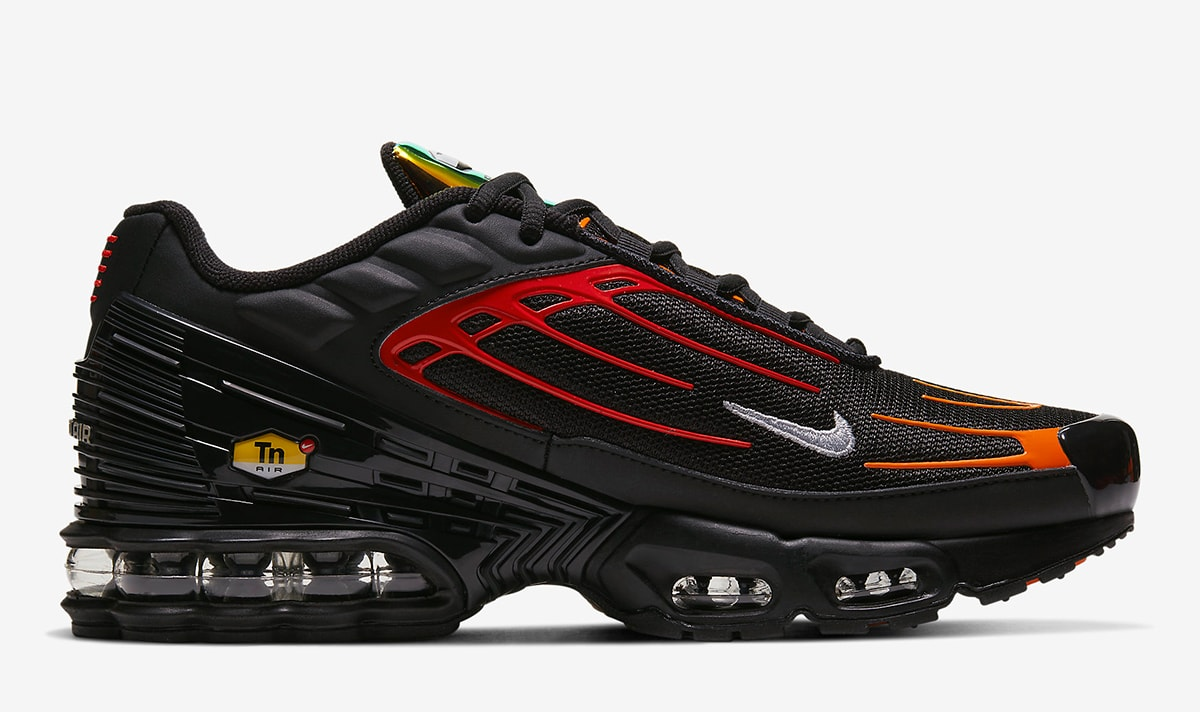 The Nike Air Max Plus 3 Appears In Black Orange And Iridescent