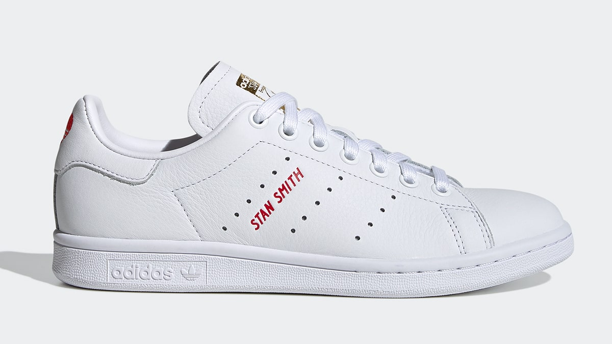 adidas originals stan smith trainers with red heart