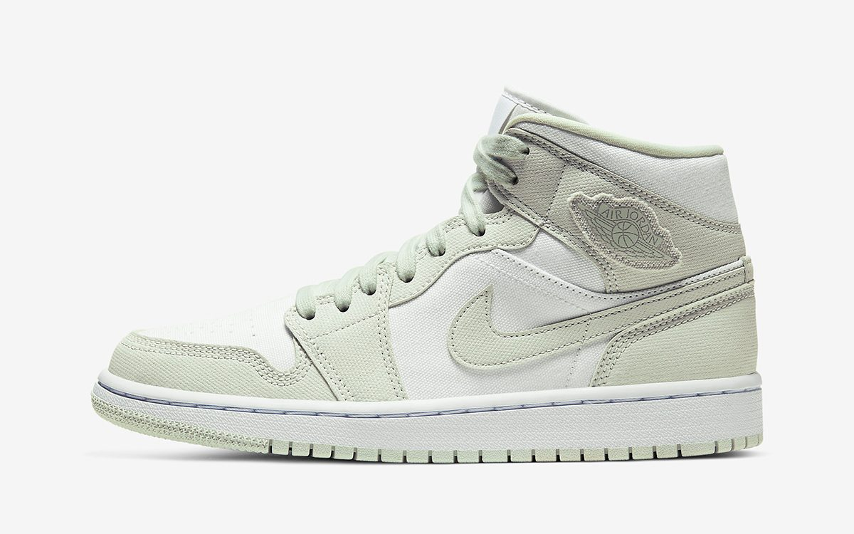 """Air Jordan 1 Mid """"Spruce Aura"""" Comes Up in Canvas"""