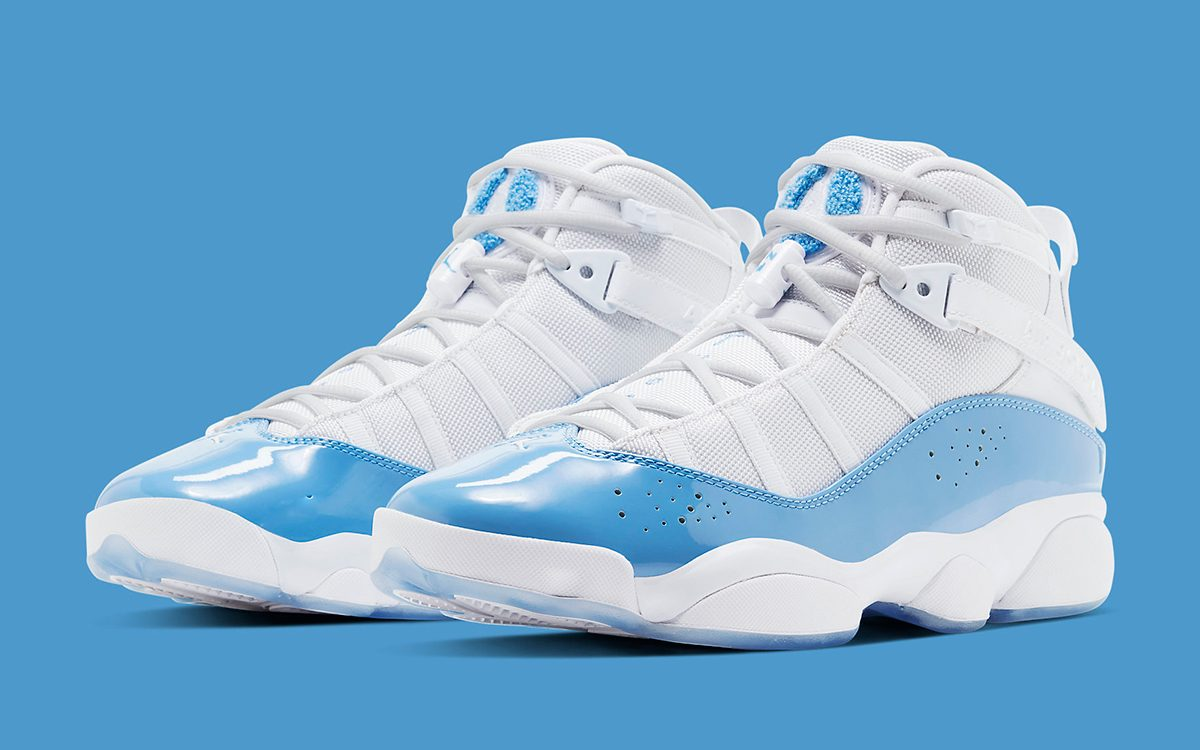 "Available Now // Jordan 6 Rings ""UNC"" Arrives in Time for March Madness"