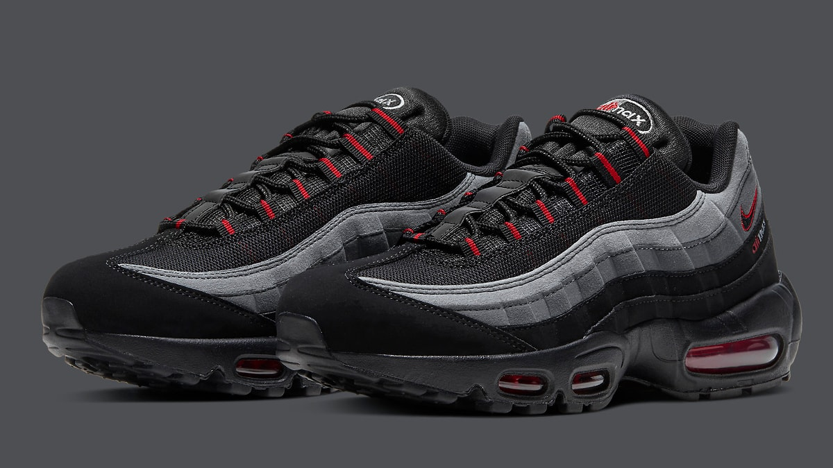 Available Now Black Red Air Max 95 Retro Logo Pack House Of