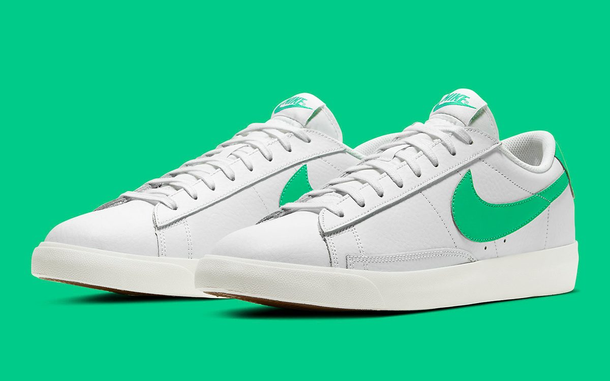 The Nike Blazer Low Leather Gears Up with a Green Spark Swoosh