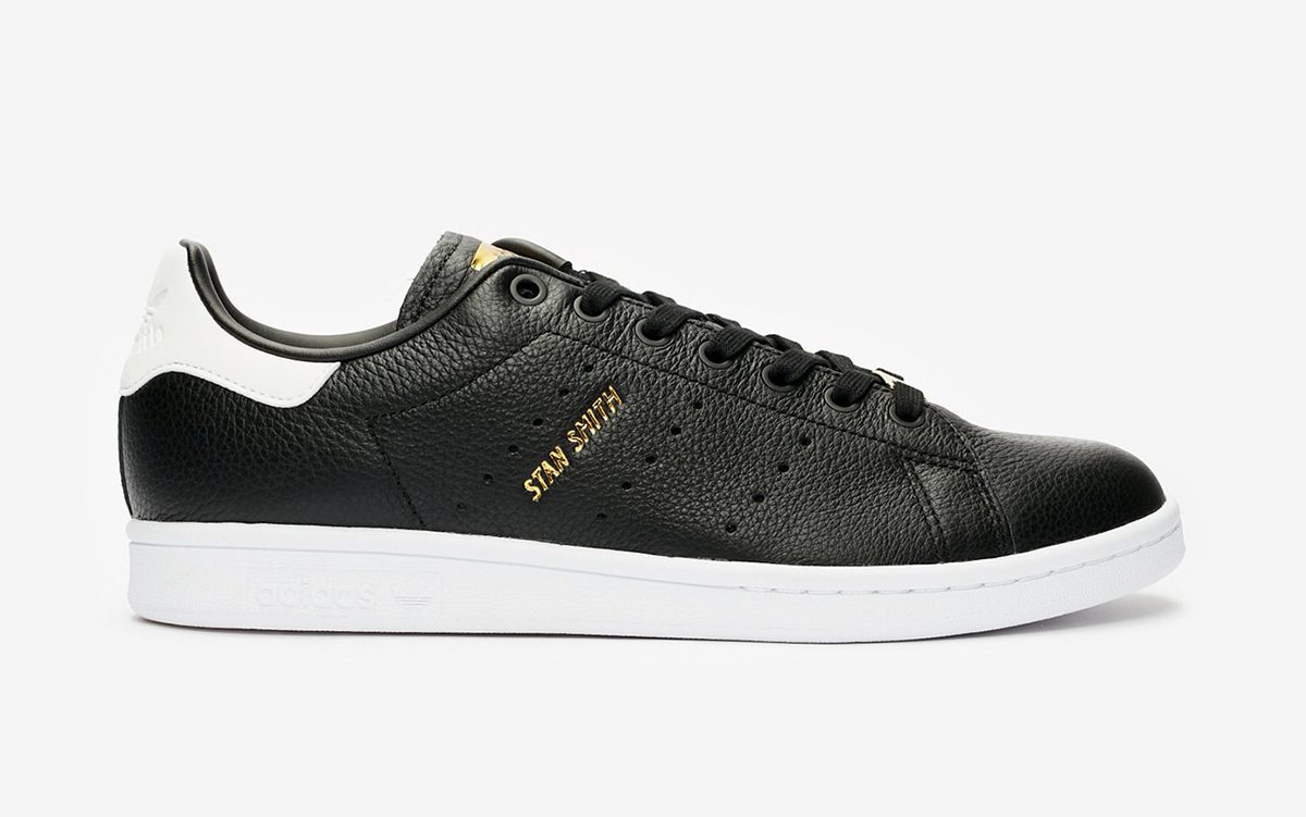 Available Now // The adidas Stan Smith is as Elegant as Ever in Tumbled Black Leather and Metallic Gold Garnish