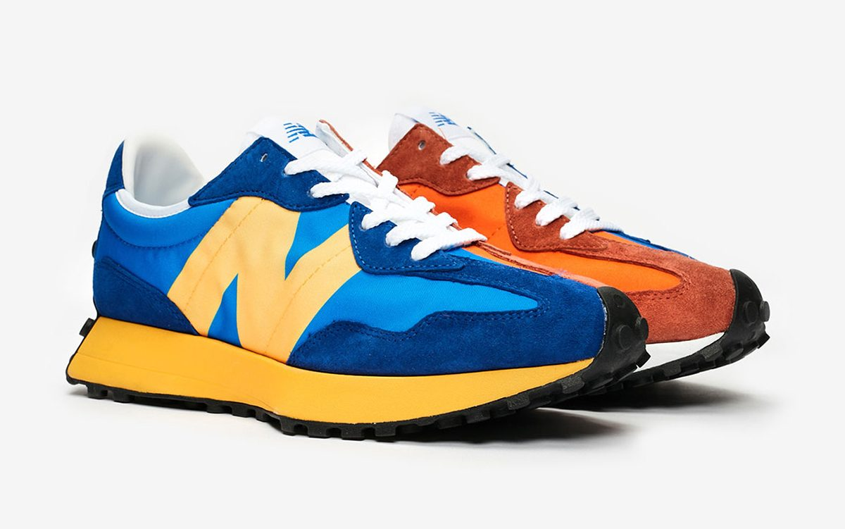 The New Balance 327 is Dropping in Spilt Orange/Blue Blocking