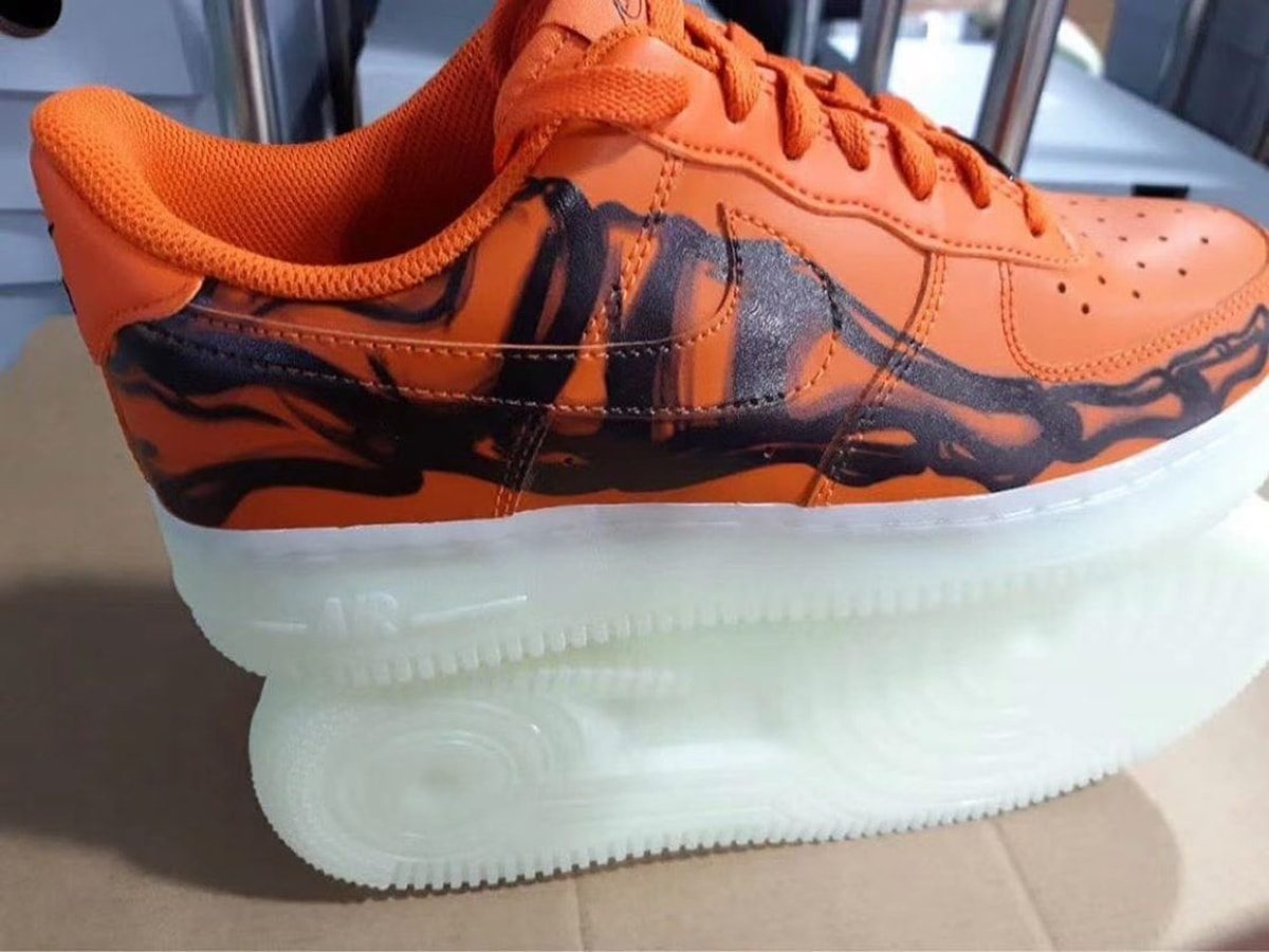 "First Looks at the ""Orange Skeleton"" Air Force 1 for Halloween"