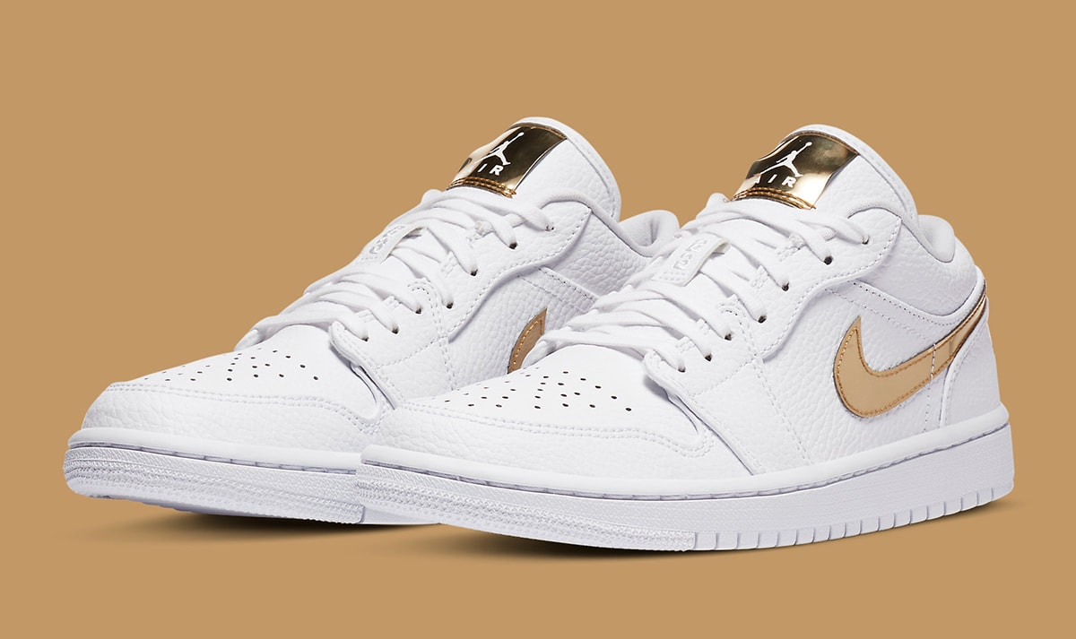 all white jordans with gold