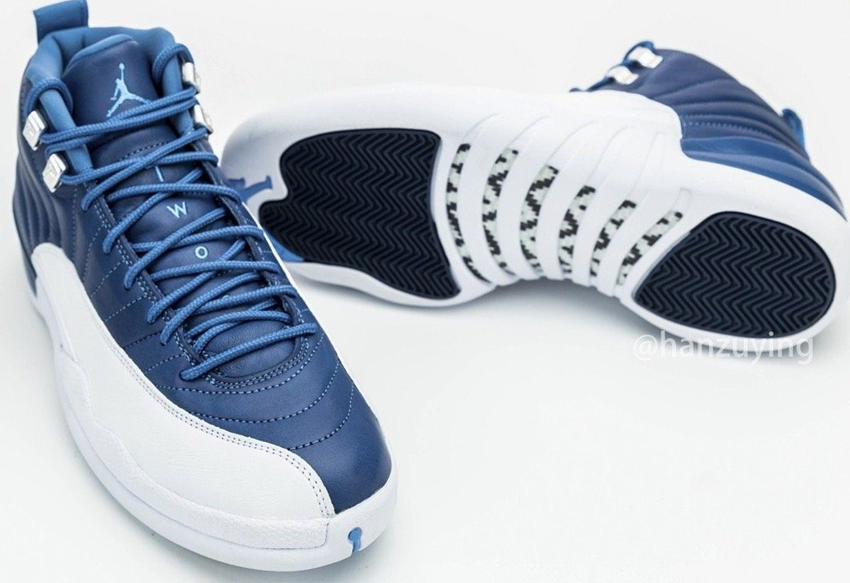 mens air jordan 12 stone blue