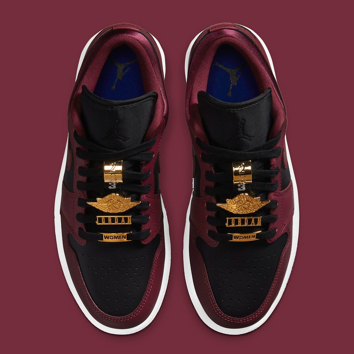 "Official Looks at the Blinged-Out Air Jordan 1 Low ""Black Maroon"" Have Landed"