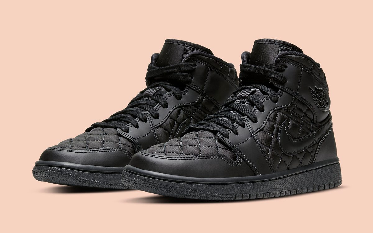 The Quilted Air Jordan 1 Mid Also Comes-Up in Triple Black