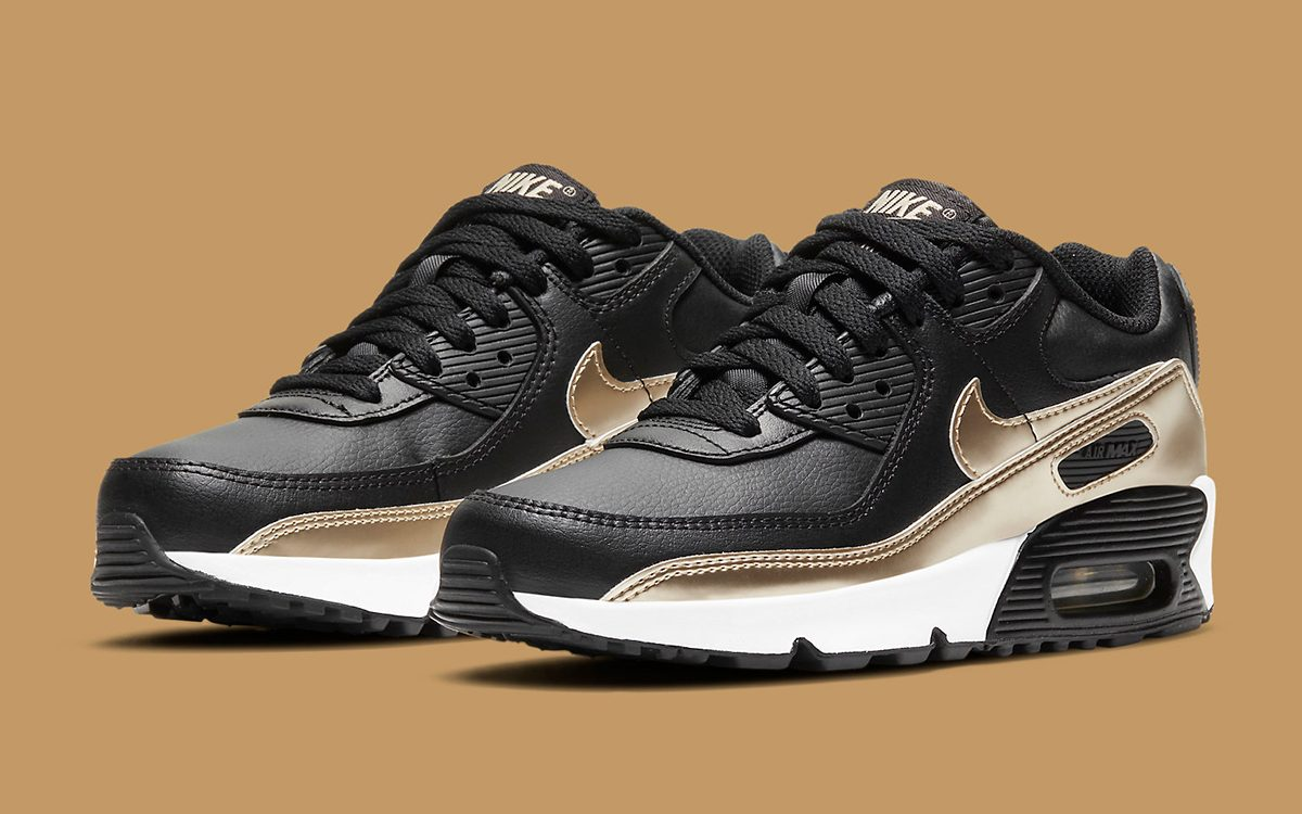 Nike Elevate this GS Air Max 90 with Elegant Leather and Metallic ...