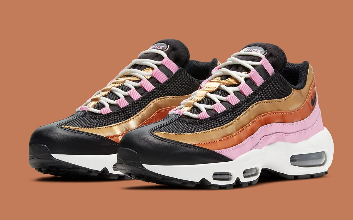 Ladies-Exclusive Air Max 95 Luxes-Up with Gold and Bronze Paneling