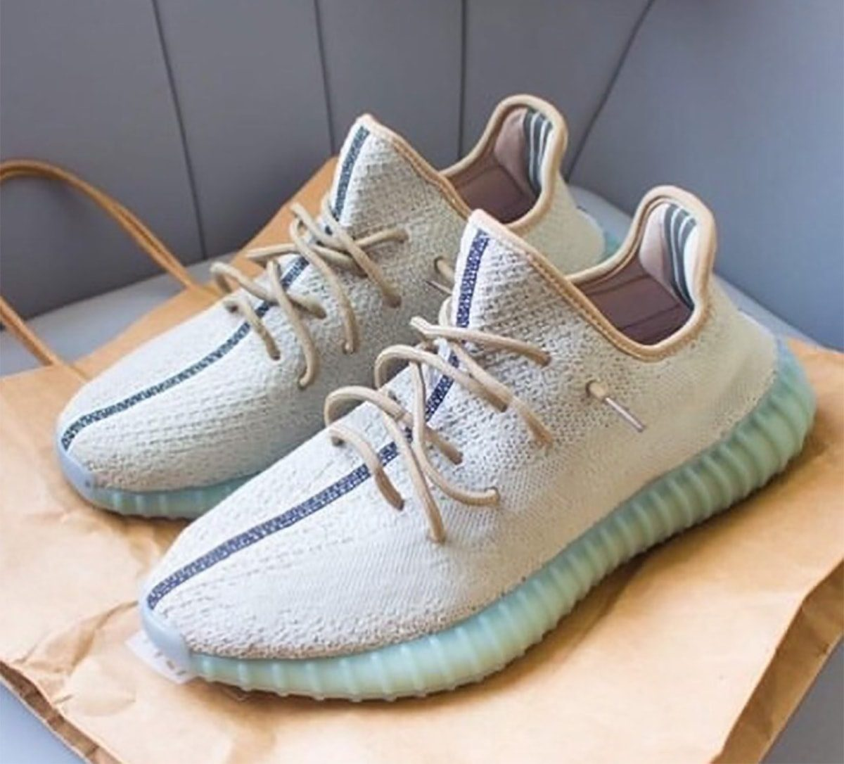 New adidas YEEZY 350 V2 Appears in Bone and Aqua Blue for Spring 2021