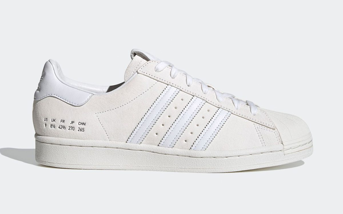 Available Now // adidas Superstar in White and Bone Suede