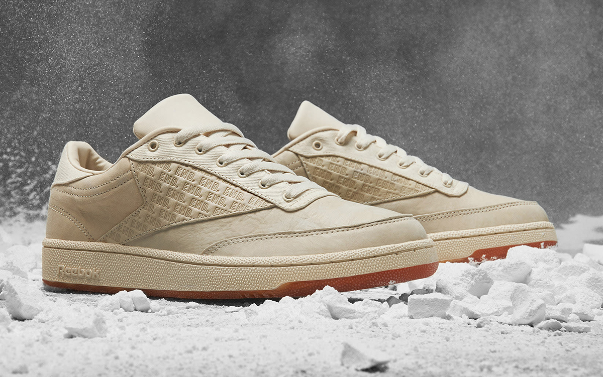 """END x Reebok Club C """"Chalk"""" Comes With Debossed Branded Panels"""