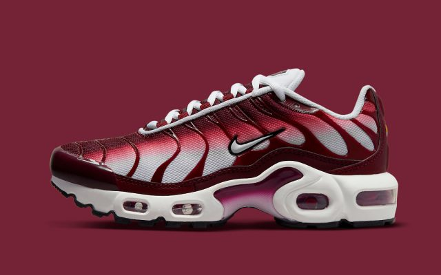 Nike Air Max Plus GS Gears-Up in White and Burgundy