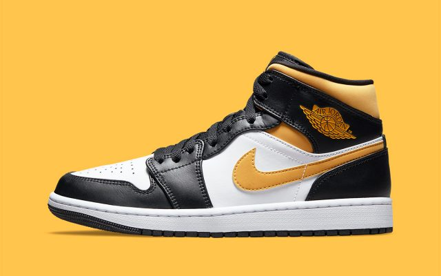 Air Jordan 1 Mid Appears with Golden-Yellow Accents
