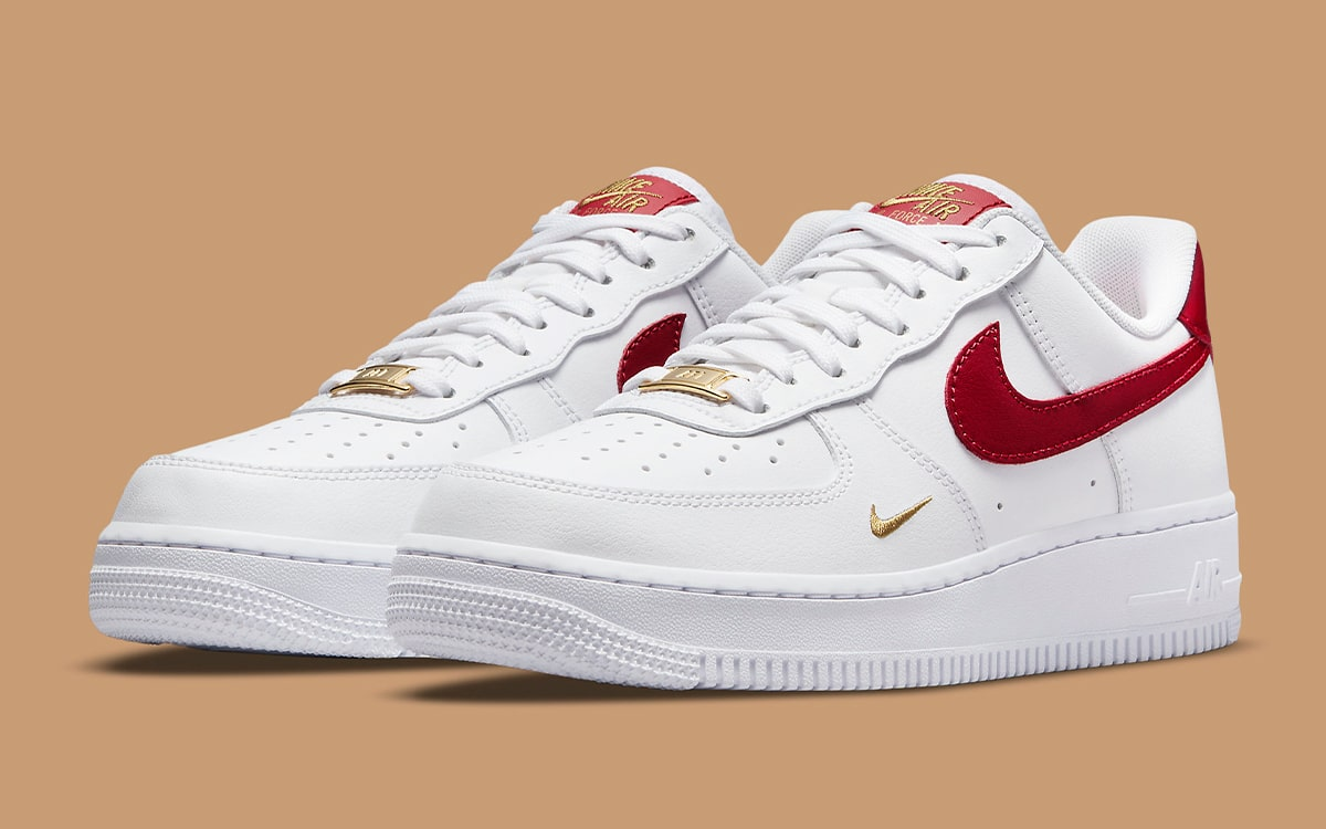 The Air Force 1 Appears with Rich Red and Gold Accents